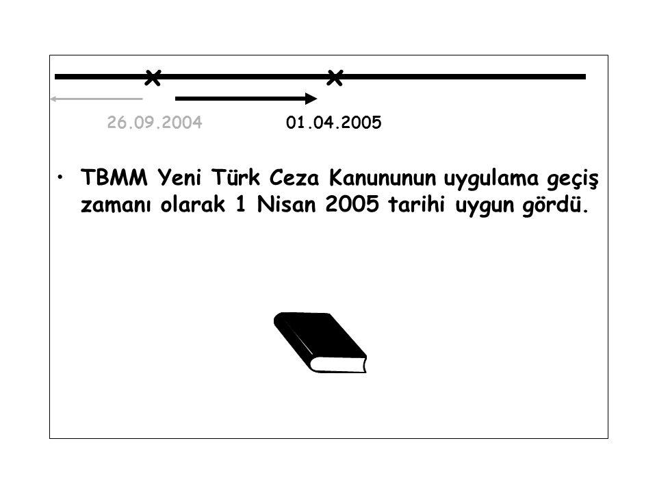x x 26.09.2004 01.04.2005 TBMM Yeni Türk Ceza Kanununun uygulama geçiş zamanı olarak 1 Nisan 2005 tarihi uygun gördü.