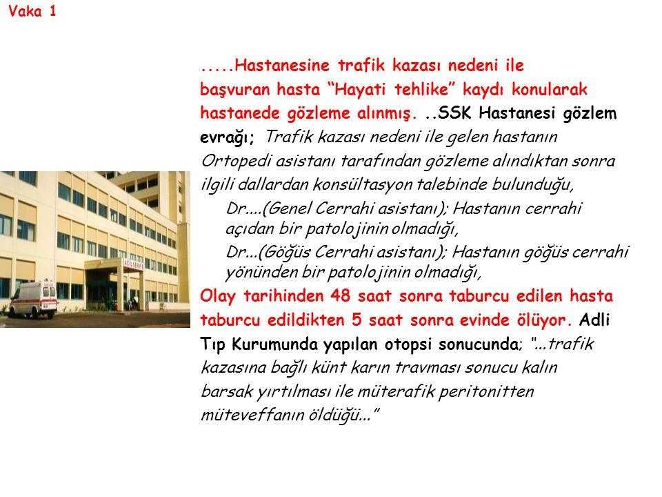 """Vaka 1.....Hastanesine trafik kazası nedeni ile başvuran hasta """"Hayati tehlike"""" kaydı konularak hastanede gözleme alınmış...SSK Hastanesi gözlem evrağ"""