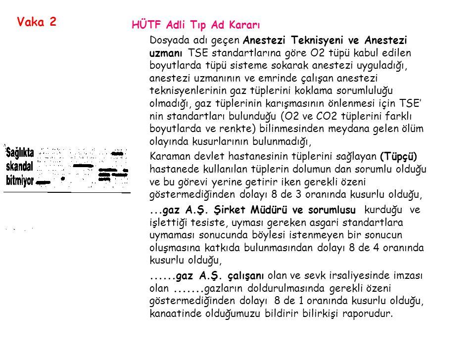 HÜTF Adli Tıp Ad Kararı Dosyada adı geçen Anestezi Teknisyeni ve Anestezi uzmanı TSE standartlarına göre O2 tüpü kabul edilen boyutlarda tüpü sisteme sokarak anestezi uyguladığı, anestezi uzmanının ve emrinde çalışan anestezi teknisyenlerinin gaz tüplerini koklama sorumluluğu olmadığı, gaz tüplerinin karışmasının önlenmesi için TSE' nin standartları bulunduğu (O2 ve CO2 tüplerini farklı boyutlarda ve renkte) bilinmesinden meydana gelen ölüm olayında kusurlarının bulunmadığı, Karaman devlet hastanesinin tüplerini sağlayan (Tüpçü) hastanede kullanılan tüplerin dolumun dan sorumlu olduğu ve bu görevi yerine getirir iken gerekli özeni göstermediğinden dolayı 8 de 3 oranında kusurlu olduğu,...gaz A.Ş.