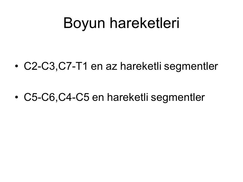 Boyun hareketleri C2-C3,C7-T1 en az hareketli segmentler C5-C6,C4-C5 en hareketli segmentler