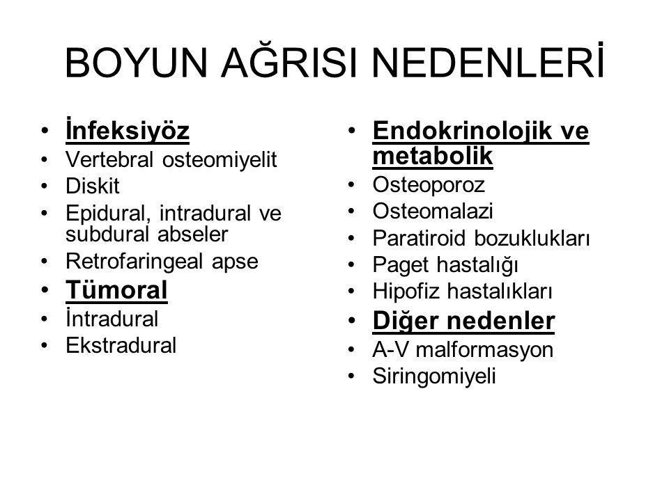 BOYUN AĞRISI NEDENLERİ İnfeksiyöz Vertebral osteomiyelit Diskit Epidural, intradural ve subdural abseler Retrofaringeal apse Tümoral İntradural Ekstra