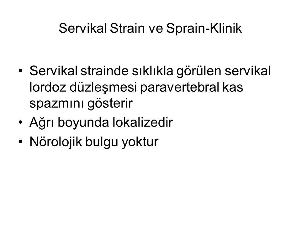 Servikal Strain ve Sprain-Klinik Servikal strainde sıklıkla görülen servikal lordoz düzleşmesi paravertebral kas spazmını gösterir Ağrı boyunda lokali
