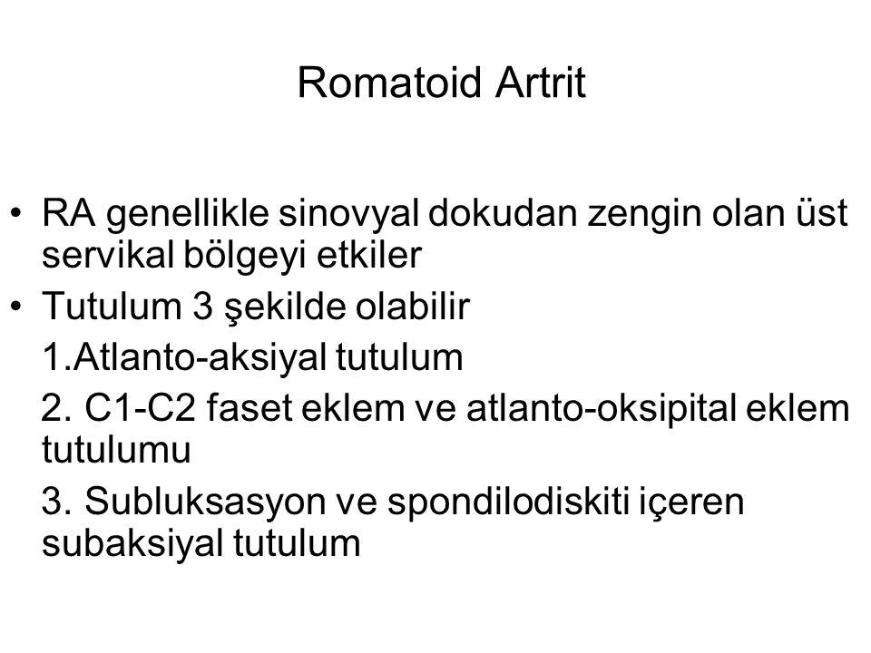 Romatoid Artrit RA genellikle sinovyal dokudan zengin olan üst servikal bölgeyi etkiler Tutulum 3 şekilde olabilir 1.Atlanto-aksiyal tutulum 2. C1-C2