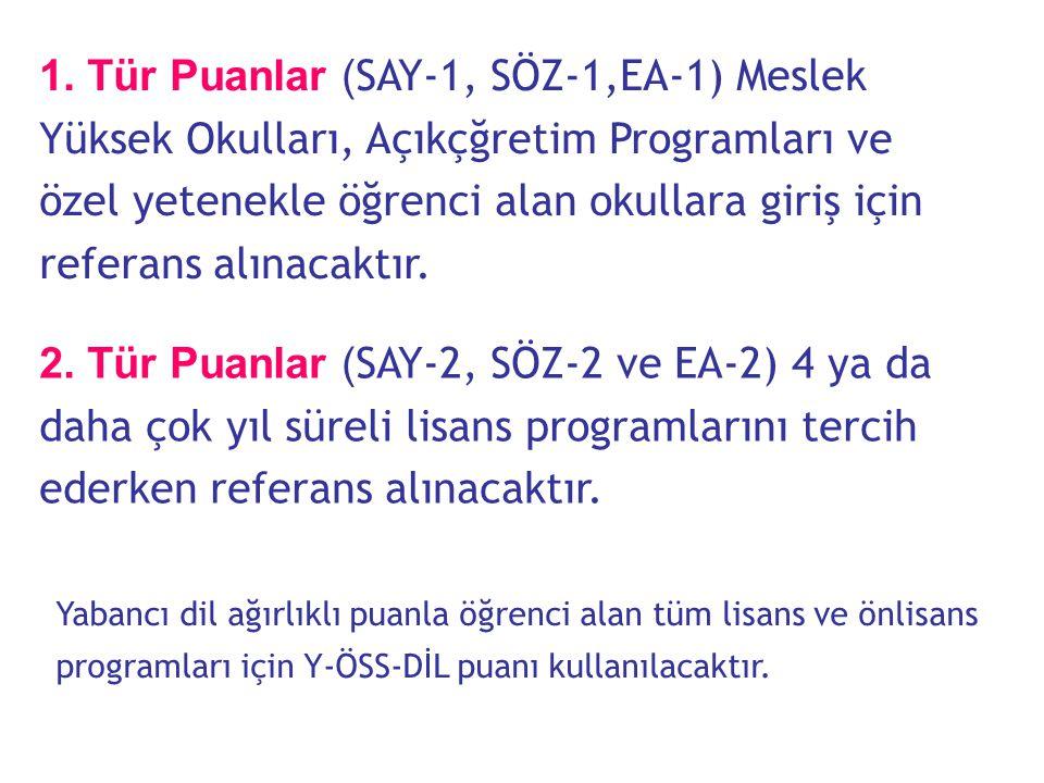 Yeni Puan Türleri  Eski sistemde 4 puan türü hesaplanırken yeni sistemde 7 ayrı puan türü hesaplanacaktır.