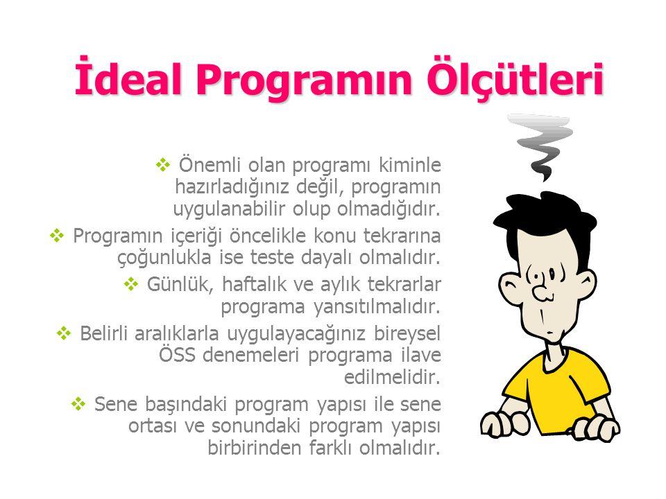 İdeal Programın Ölçütleri  İdeal program, uygulanabilen programdır.