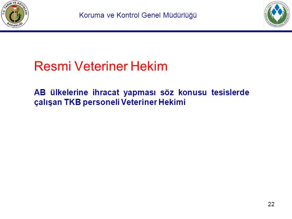 22 Resmi Veteriner Hekim AB ülkelerine ihracat yapması söz konusu tesislerde çalışan TKB personeli Veteriner Hekimi Koruma ve Kontrol Genel Müdürlüğü