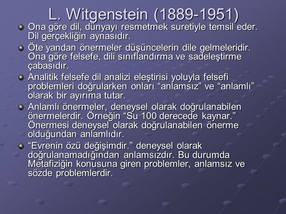 L. Witgenstein (1889-1951) Ona göre dil, dünyayı resmetmek suretiyle temsil eder. Dil gerçekliğin aynasıdır. Öte yandan önermeler düşüncelerin dile ge