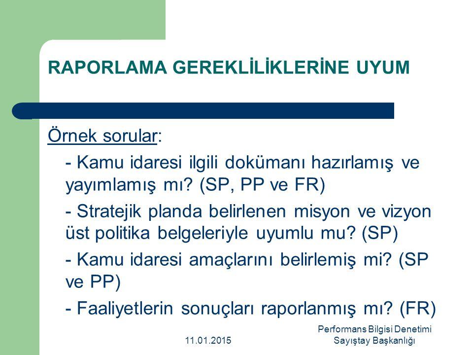 RAPORLAMA GEREKLİLİKLERİNE UYUM Örnek sorular: - Kamu idaresi ilgili dokümanı hazırlamış ve yayımlamış mı? (SP, PP ve FR) - Stratejik planda belirlene
