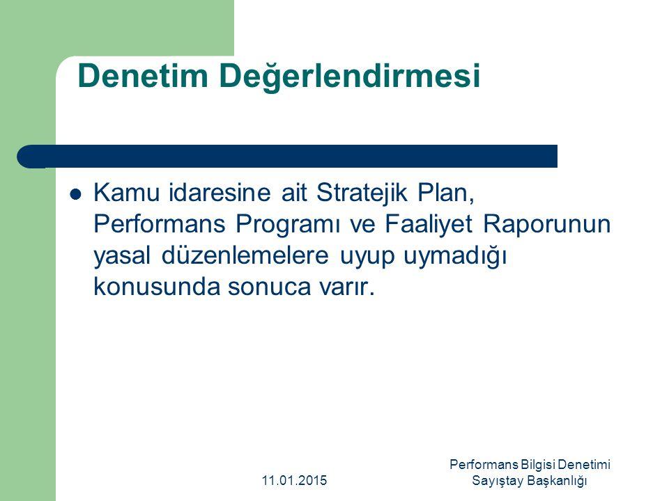 Denetim Değerlendirmesi Kamu idaresine ait Stratejik Plan, Performans Programı ve Faaliyet Raporunun yasal düzenlemelere uyup uymadığı konusunda sonuc