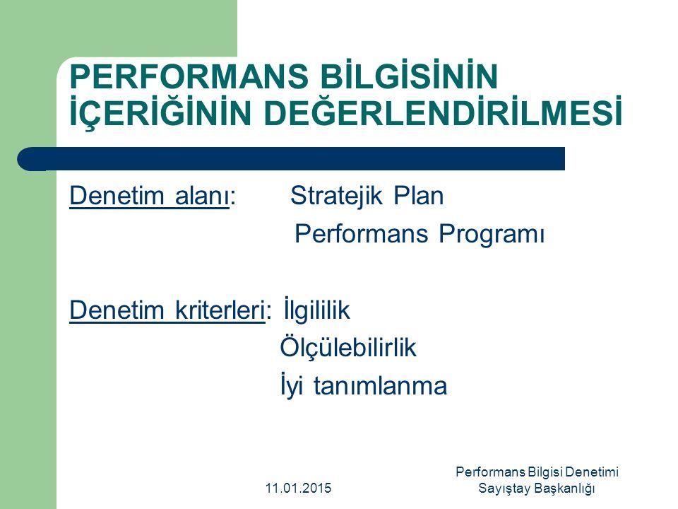 PERFORMANS BİLGİSİNİN İÇERİĞİNİN DEĞERLENDİRİLMESİ Denetim alanı: Stratejik Plan Performans Programı Denetim kriterleri: İlgililik Ölçülebilirlik İyi