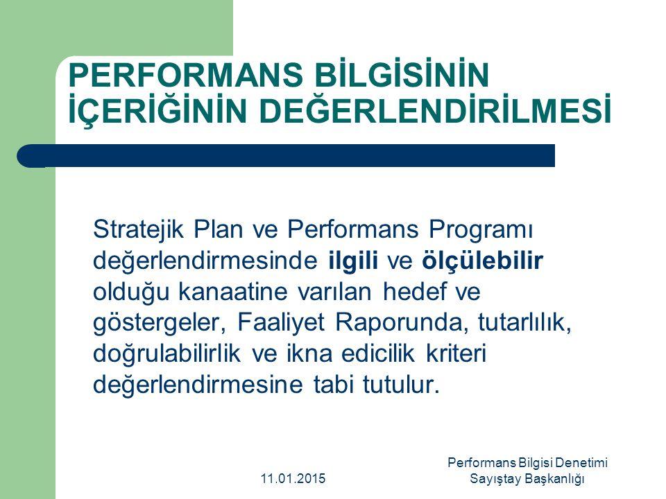 PERFORMANS BİLGİSİNİN İÇERİĞİNİN DEĞERLENDİRİLMESİ Stratejik Plan ve Performans Programı değerlendirmesinde ilgili ve ölçülebilir olduğu kanaatine var