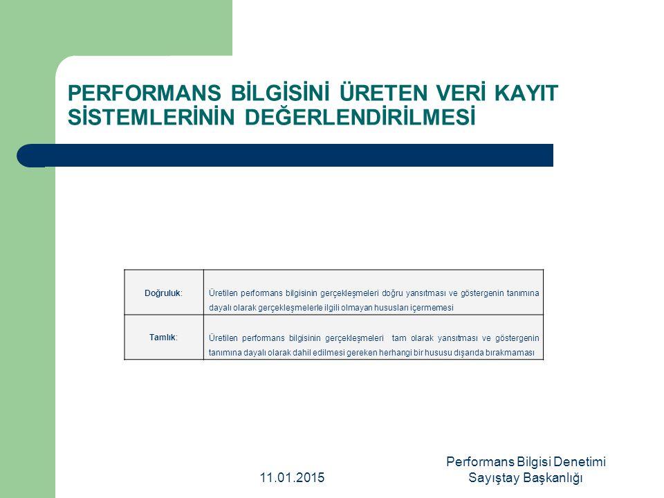 PERFORMANS BİLGİSİNİ ÜRETEN VERİ KAYIT SİSTEMLERİNİN DEĞERLENDİRİLMESİ Doğruluk: Üretilen performans bilgisinin gerçekleşmeleri doğru yansıtması ve gö