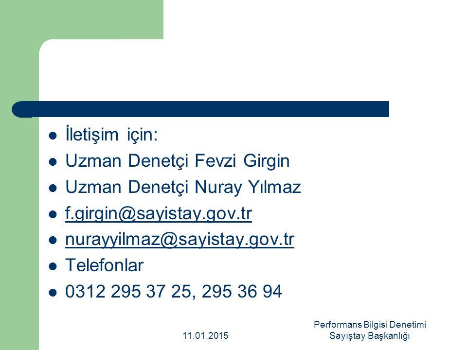 İletişim için: Uzman Denetçi Fevzi Girgin Uzman Denetçi Nuray Yılmaz f.girgin@sayistay.gov.tr nurayyilmaz@sayistay.gov.tr Telefonlar 0312 295 37 25, 2