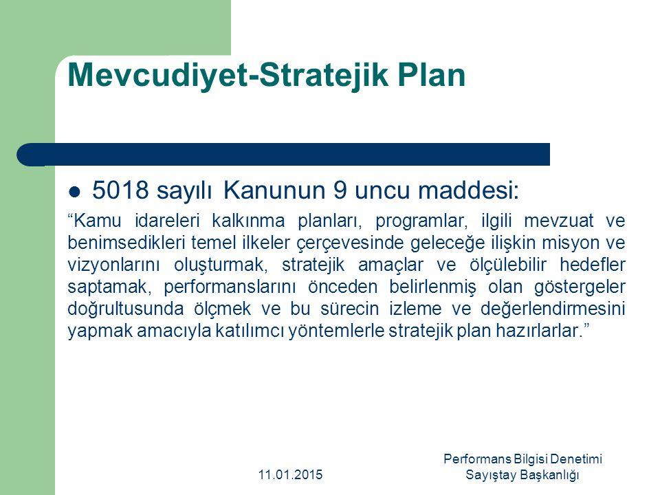 Zamanlılık-Stratejik Plan Kamu İdareleri İçin stratejik Planlama kılavuzu ve eki Kamu İdarelerinde Stratejik planlamaya İlişkin Usul ve Esaslar Hakkında Yönetmelik 11.01.2015 Performans Bilgisi Denetimi Sayıştay Başkanlığı