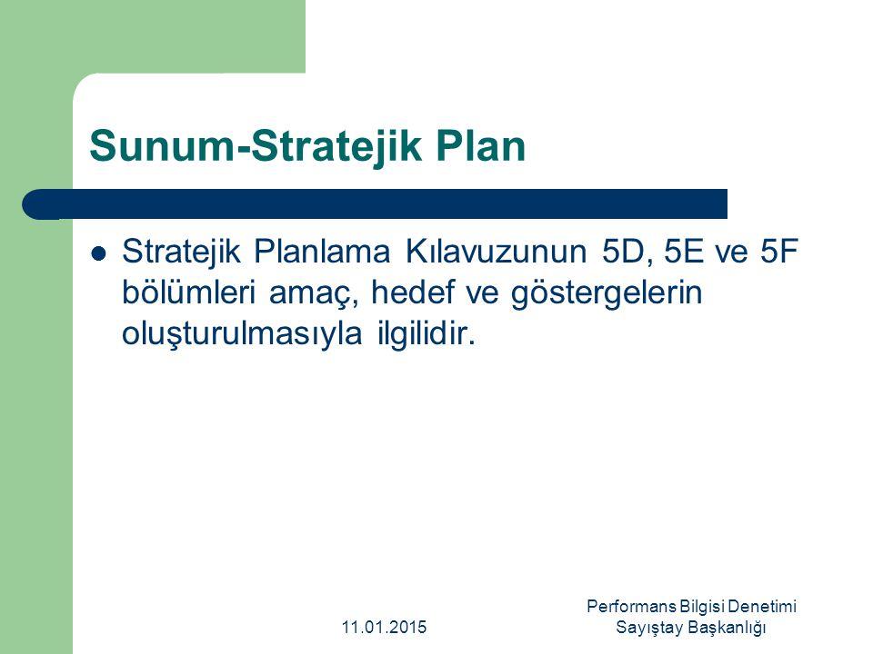 Sunum-Stratejik Plan Stratejik Planlama Kılavuzunun 5D, 5E ve 5F bölümleri amaç, hedef ve göstergelerin oluşturulmasıyla ilgilidir. 11.01.2015 Perform