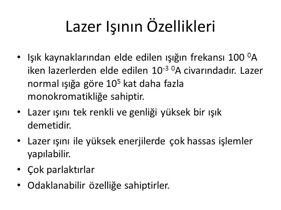 Lazer Işının Özellikleri Işık kaynaklarından elde edilen ışığın frekansı 100 0 A iken lazerlerden elde edilen 10 -3 0 A civarındadır.