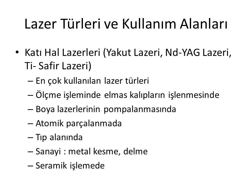 Lazer Türleri ve Kullanım Alanları Katı Hal Lazerleri (Yakut Lazeri, Nd-YAG Lazeri, Ti- Safir Lazeri) – En çok kullanılan lazer türleri – Ölçme işleminde elmas kalıpların işlenmesinde – Boya lazerlerinin pompalanmasında – Atomik parçalanmada – Tıp alanında – Sanayi : metal kesme, delme – Seramik işlemede