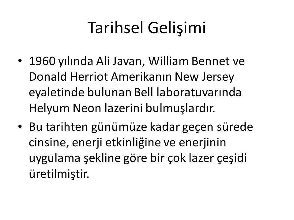 Tarihsel Gelişimi 1960 yılında Ali Javan, William Bennet ve Donald Herriot Amerikanın New Jersey eyaletinde bulunan Bell laboratuvarında Helyum Neon lazerini bulmuşlardır.