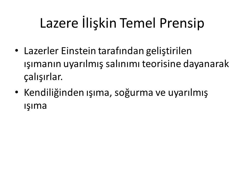 Lazere İlişkin Temel Prensip Lazerler Einstein tarafından geliştirilen ışımanın uyarılmış salınımı teorisine dayanarak çalışırlar. Kendiliğinden ışıma