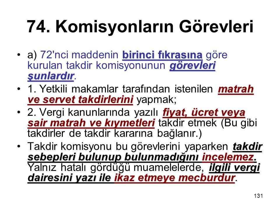 131 74. Komisyonların Görevleri birinci fıkrasına görevleri şunlardıra) 72'nci maddenin birinci fıkrasına göre kurulan takdir komisyonunun görevleri ş