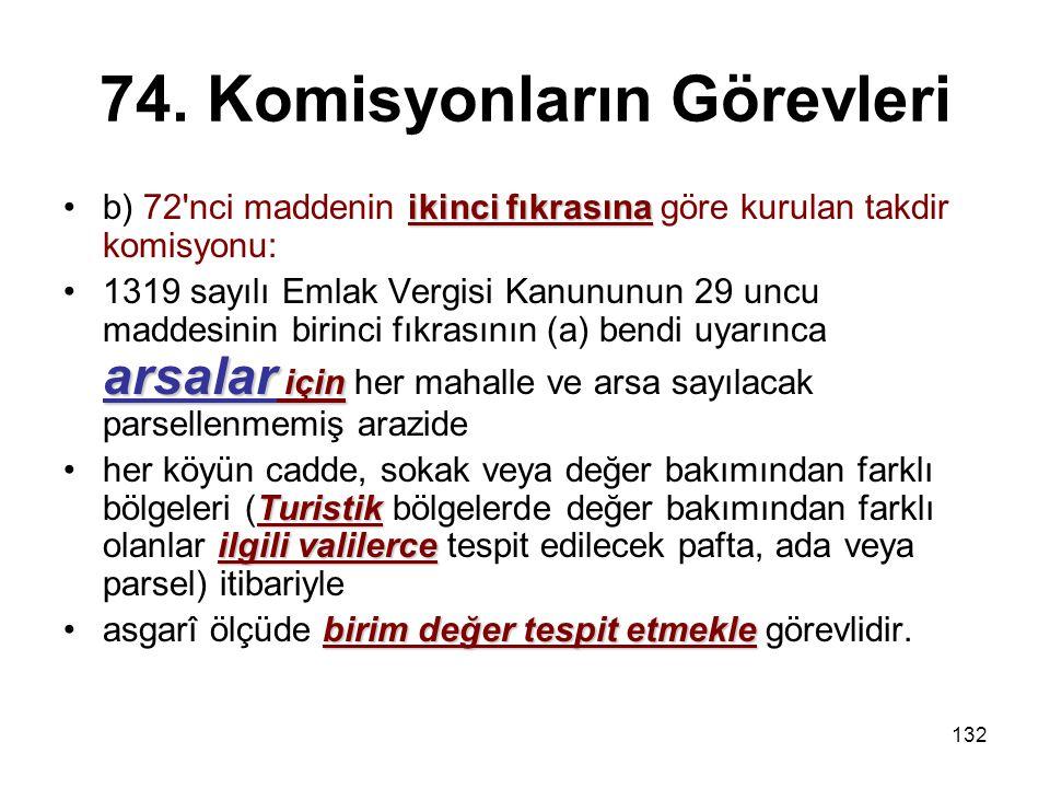 132 74. Komisyonların Görevleri ikinci fıkrasınab) 72'nci maddenin ikinci fıkrasına göre kurulan takdir komisyonu: arsalar için1319 sayılı Emlak Vergi