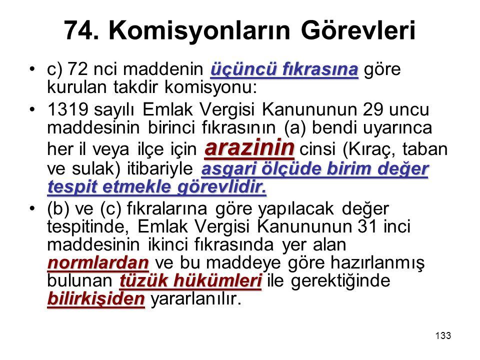 133 74. Komisyonların Görevleri üçüncü fıkrasınac) 72 nci maddenin üçüncü fıkrasına göre kurulan takdir komisyonu: arazinin asgari ölçüde birim değer