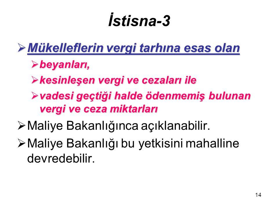 14 İstisna-3  Mükelleflerin vergi tarhına esas olan  beyanları,  kesinleşen vergi ve cezaları ile  vadesi geçtiği halde ödenmemiş bulunan vergi ve