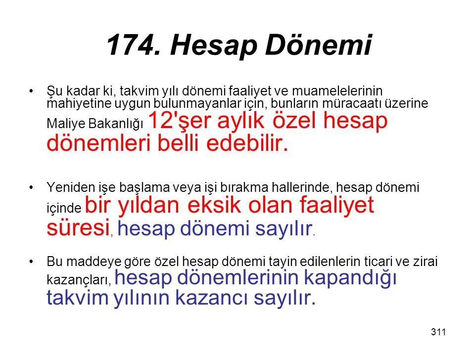 311 174. Hesap Dönemi Şu kadar ki, takvim yılı dönemi faaliyet ve muamelelerinin mahiyetine uygun bulunmayanlar için, bunların müracaatı üzerine Maliy