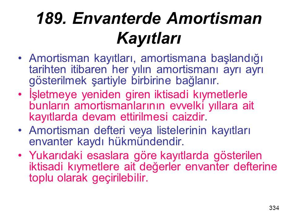 334 189. Envanterde Amortisman Kayıtları Amortisman kayıtları, amortismana başlandığı tarihten itibaren her yılın amortismanı ayrı ayrı gösterilmek şa