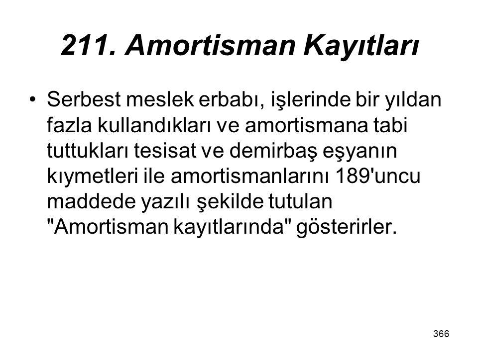 366 211. Amortisman Kayıtları Serbest meslek erbabı, işlerinde bir yıldan fazla kullandıkları ve amortismana tabi tuttukları tesisat ve demirbaş eşyan