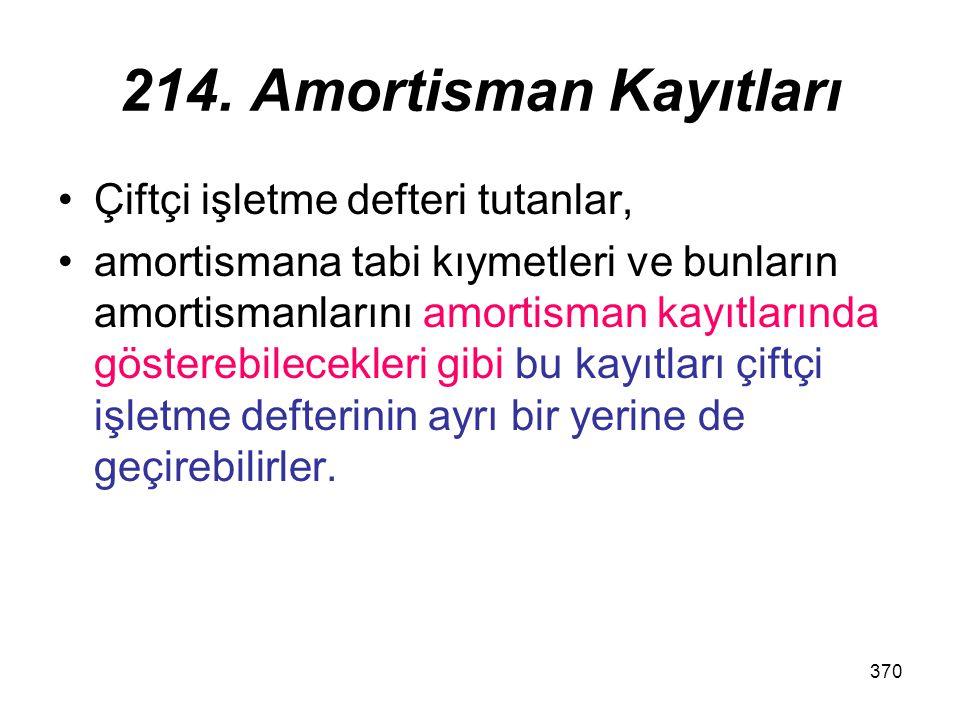 370 214. Amortisman Kayıtları Çiftçi işletme defteri tutanlar, amortismana tabi kıymetleri ve bunların amortismanlarını amortisman kayıtlarında göster