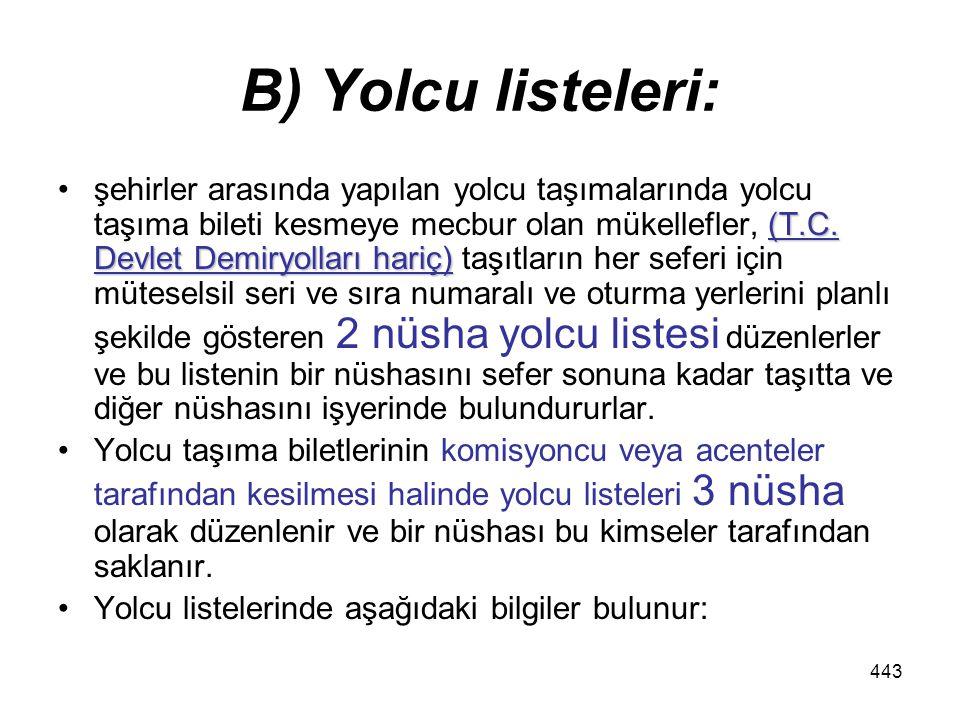 443 B) Yolcu listeleri: (T.C.