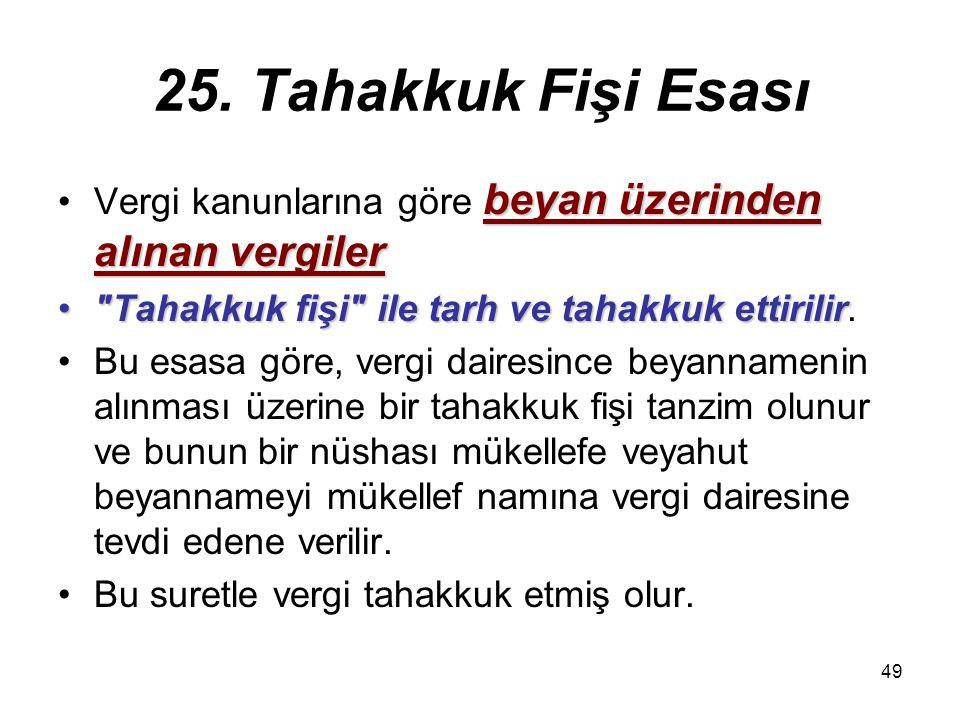 49 25. Tahakkuk Fişi Esası beyan üzerinden alınan vergilerVergi kanunlarına göre beyan üzerinden alınan vergiler
