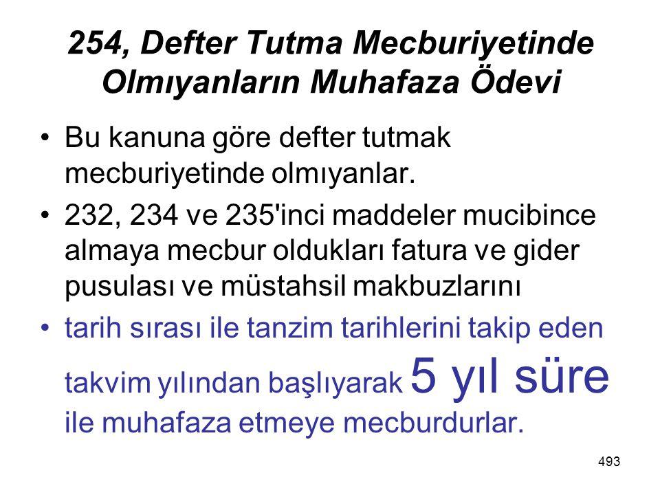 493 254, Defter Tutma Mecburiyetinde Olmıyanların Muhafaza Ödevi Bu kanuna göre defter tutmak mecburiyetinde olmıyanlar.