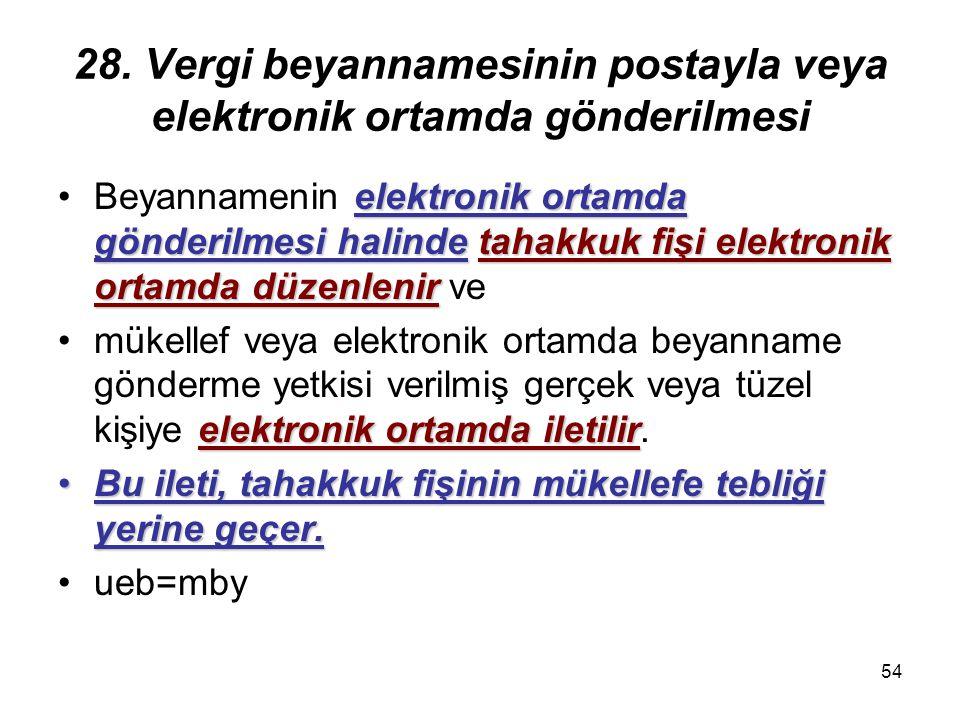 54 28. Vergi beyannamesinin postayla veya elektronik ortamda gönderilmesi elektronik ortamda gönderilmesi halindetahakkuk fişi elektronik ortamda düze