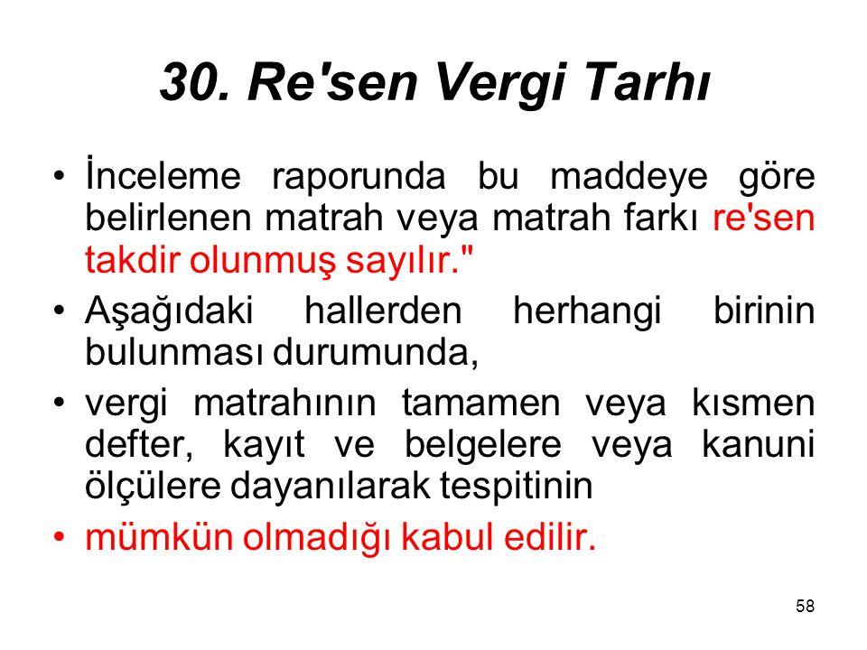 58 30. Re'sen Vergi Tarhı İnceleme raporunda bu maddeye göre belirlenen matrah veya matrah farkı re'sen takdir olunmuş sayılır.