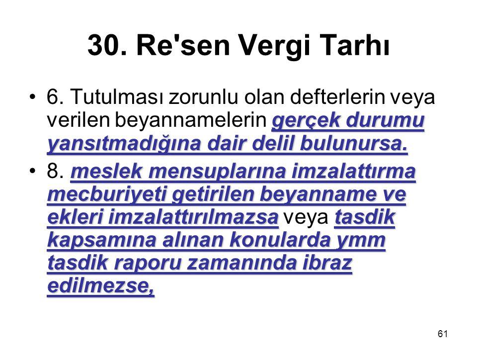 61 30. Re'sen Vergi Tarhı gerçek durumu yansıtmadığına dair delil bulunursa.6. Tutulması zorunlu olan defterlerin veya verilen beyannamelerin gerçek d