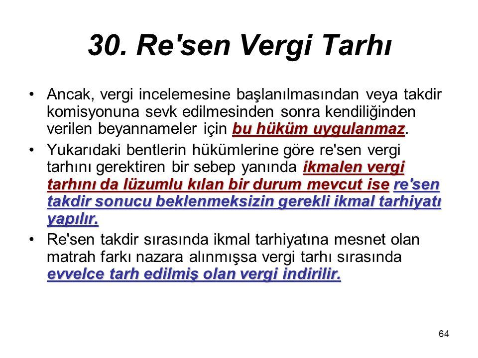64 30. Re'sen Vergi Tarhı bu hüküm uygulanmazAncak, vergi incelemesine başlanılmasından veya takdir komisyonuna sevk edilmesinden sonra kendiliğinden