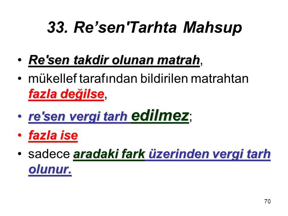 70 33. Re'sen'Tarhta Mahsup Re'sen takdir olunan matrahRe'sen takdir olunan matrah, fazla değilsemükellef tarafından bildirilen matrahtan fazla değils