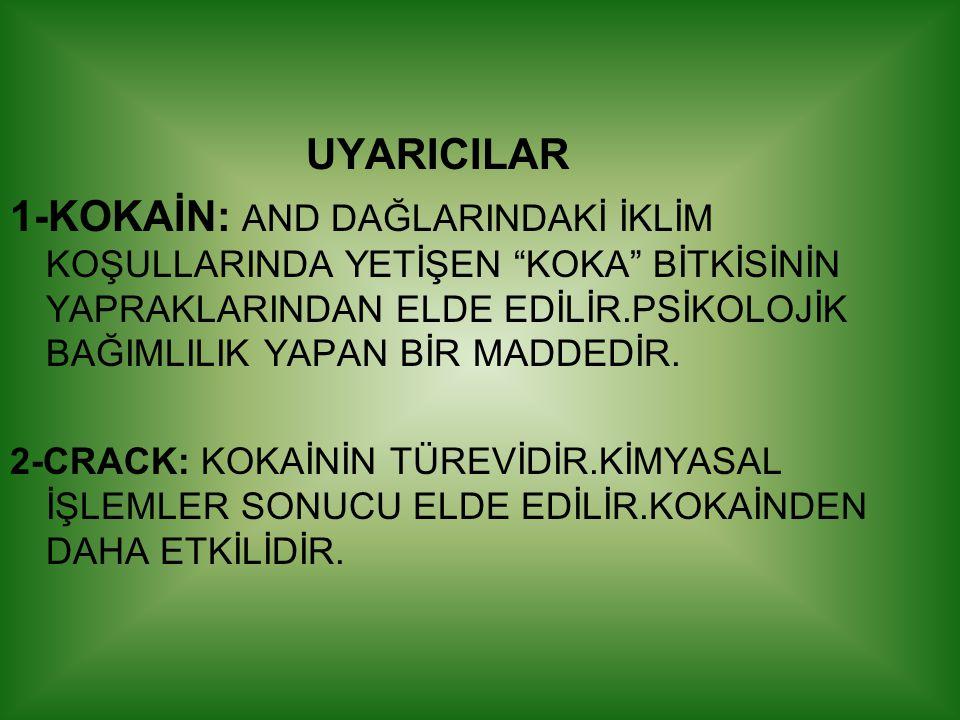 """UYARICILAR 1-KOKAİN: AND DAĞLARINDAKİ İKLİM KOŞULLARINDA YETİŞEN """"KOKA"""" BİTKİSİNİN YAPRAKLARINDAN ELDE EDİLİR.PSİKOLOJİK BAĞIMLILIK YAPAN BİR MADDEDİR"""