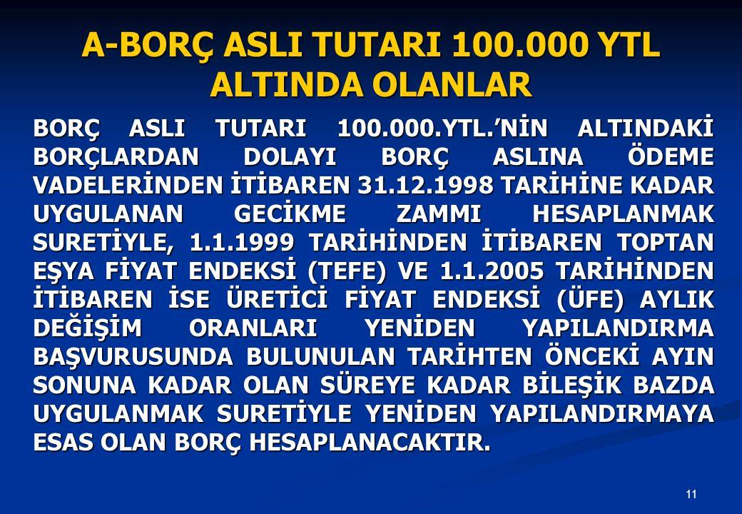 11 BORÇ ASLI TUTARI 100.000.YTL.'NİN ALTINDAKİ BORÇLARDAN DOLAYI BORÇ ASLINA ÖDEME VADELERİNDEN İTİBAREN 31.12.1998 TARİHİNE KADAR UYGULANAN GECİKME ZAMMI HESAPLANMAK SURETİYLE, 1.1.1999 TARİHİNDEN İTİBAREN TOPTAN EŞYA FİYAT ENDEKSİ (TEFE) VE 1.1.2005 TARİHİNDEN İTİBAREN İSE ÜRETİCİ FİYAT ENDEKSİ (ÜFE) AYLIK DEĞİŞİM ORANLARI YENİDEN YAPILANDIRMA BAŞVURUSUNDA BULUNULAN TARİHTEN ÖNCEKİ AYIN SONUNA KADAR OLAN SÜREYE KADAR BİLEŞİK BAZDA UYGULANMAK SURETİYLE YENİDEN YAPILANDIRMAYA ESAS OLAN BORÇ HESAPLANACAKTIR.