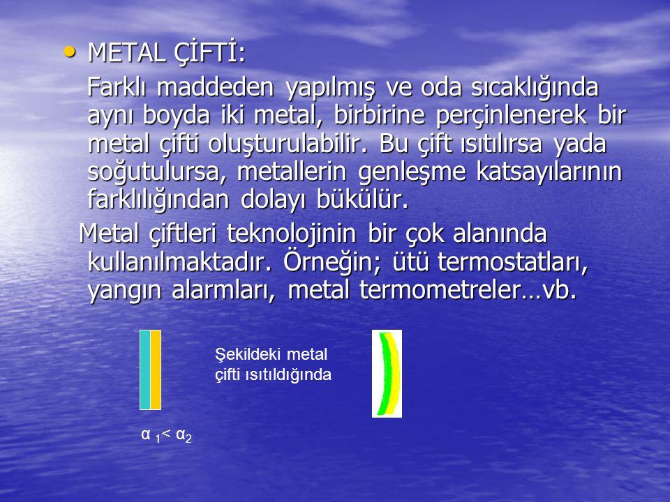 METAL ÇİFTİ: METAL ÇİFTİ: Farklı maddeden yapılmış ve oda sıcaklığında aynı boyda iki metal, birbirine perçinlenerek bir metal çifti oluşturulabilir.