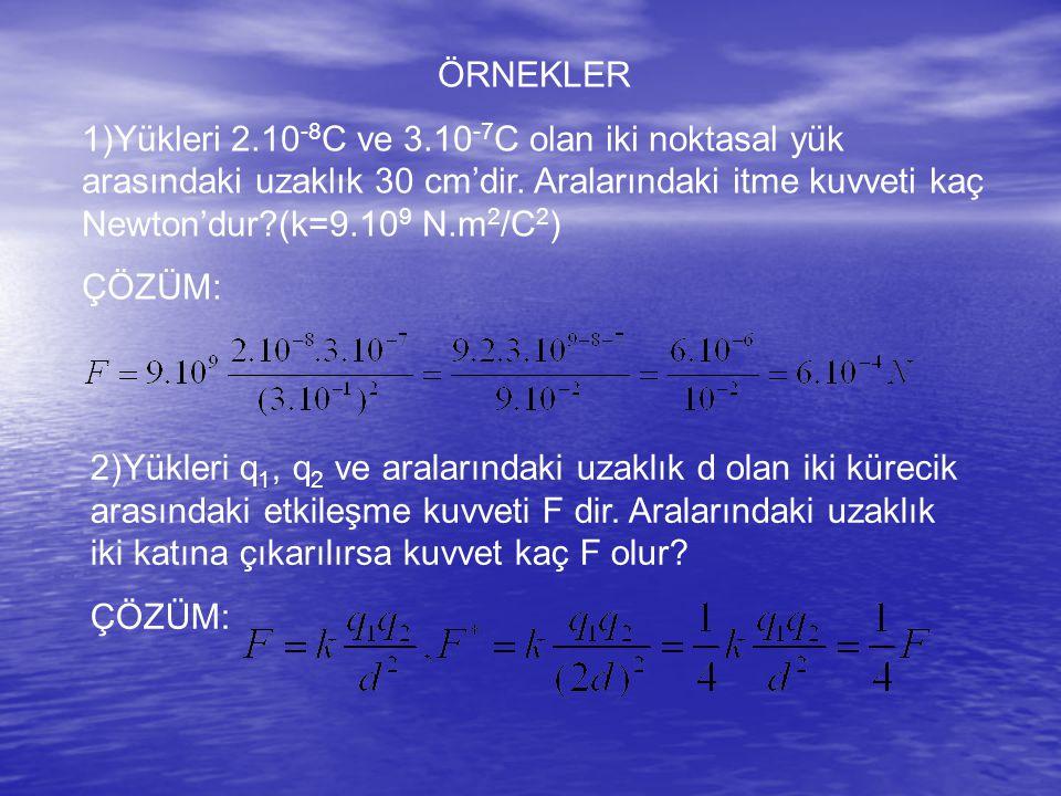 ÖRNEKLER 1)Yükleri 2.10 -8 C ve 3.10 -7 C olan iki noktasal yük arasındaki uzaklık 30 cm'dir.