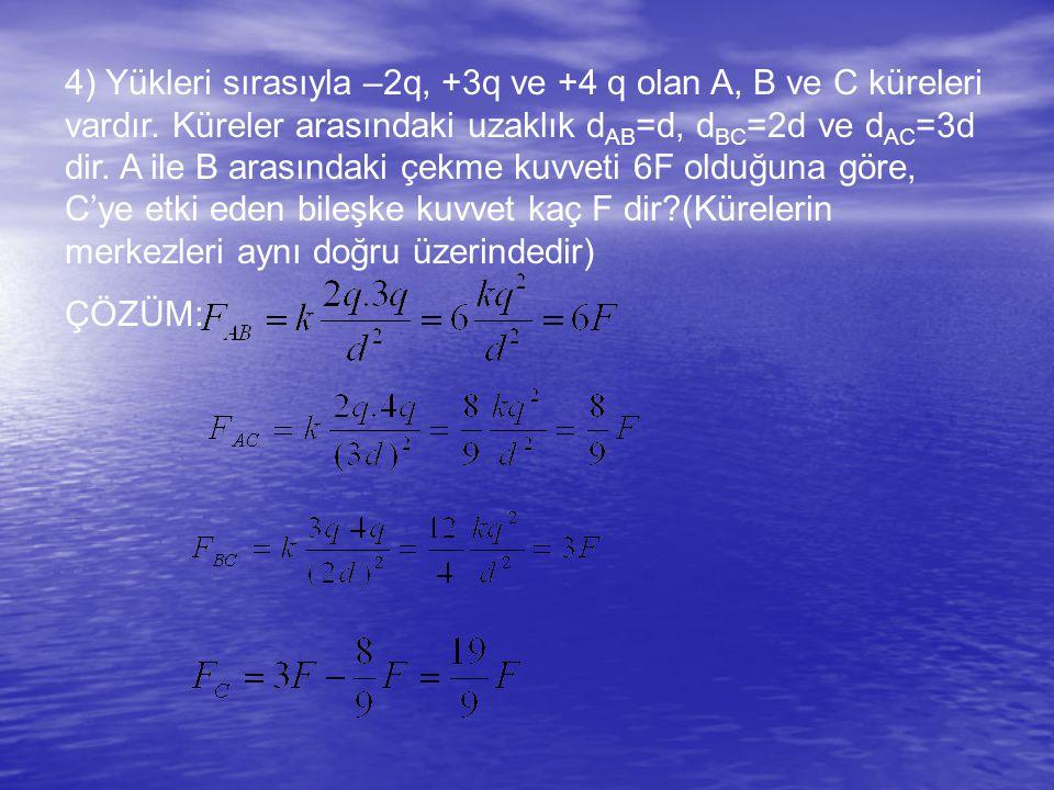 4) Yükleri sırasıyla –2q, +3q ve +4 q olan A, B ve C küreleri vardır.