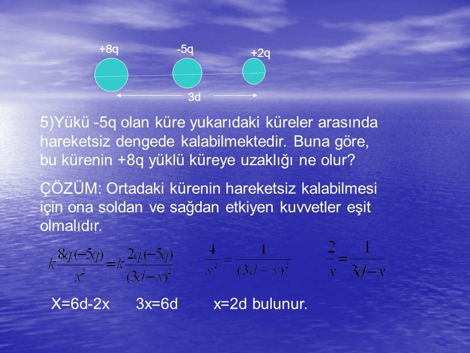 +8q-5q +2q 3d 5)Yükü -5q olan küre yukarıdaki küreler arasında hareketsiz dengede kalabilmektedir.