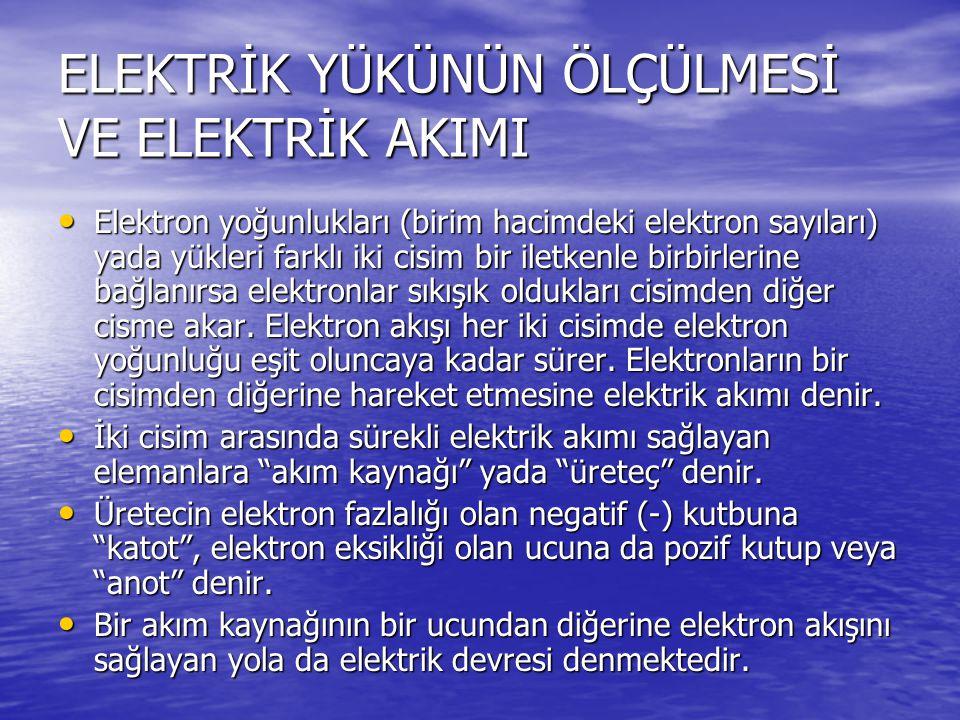 ELEKTRİK YÜKÜNÜN ÖLÇÜLMESİ VE ELEKTRİK AKIMI Elektron yoğunlukları (birim hacimdeki elektron sayıları) yada yükleri farklı iki cisim bir iletkenle birbirlerine bağlanırsa elektronlar sıkışık oldukları cisimden diğer cisme akar.