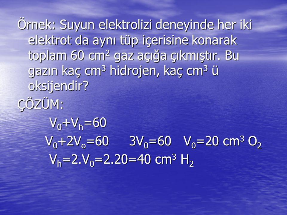 Örnek: Suyun elektrolizi deneyinde her iki elektrot da aynı tüp içerisine konarak toplam 60 cm 2 gaz açığa çıkmıştır.