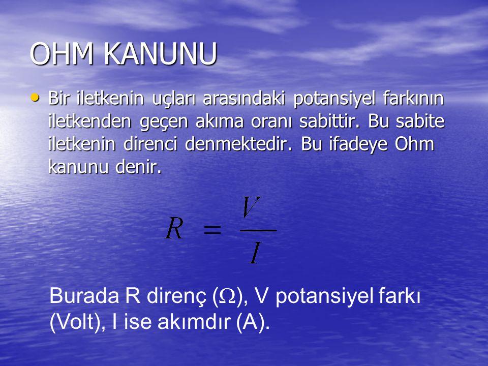 OHM KANUNU Bir iletkenin uçları arasındaki potansiyel farkının iletkenden geçen akıma oranı sabittir.