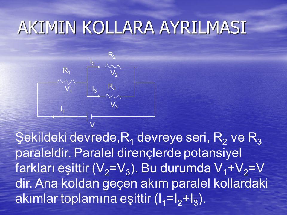 AKIMIN KOLLARA AYRILMASI R1R1 R2R2 R3R3 V I1I1 I2I2 I3I3 V1V1 V2V2 V3V3 Şekildeki devrede,R 1 devreye seri, R 2 ve R 3 paraleldir.