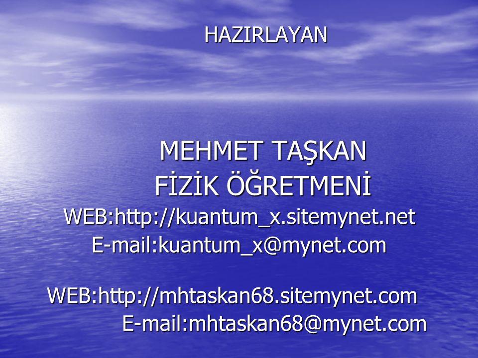 HAZIRLAYAN HAZIRLAYAN MEHMET TAŞKAN FİZİK ÖĞRETMENİ WEB:http://kuantum_x.sitemynet.netE-mail:kuantum_x@mynet.comWEB:http://mhtaskan68.sitemynet.com E-mail:mhtaskan68@mynet.com E-mail:mhtaskan68@mynet.com